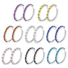 Colors Medium Hoop Earrings Women Oval Stone Huggie Earring Zircon Silver Color Fashion Korean Jewelry Hoops luxury Pink(China)