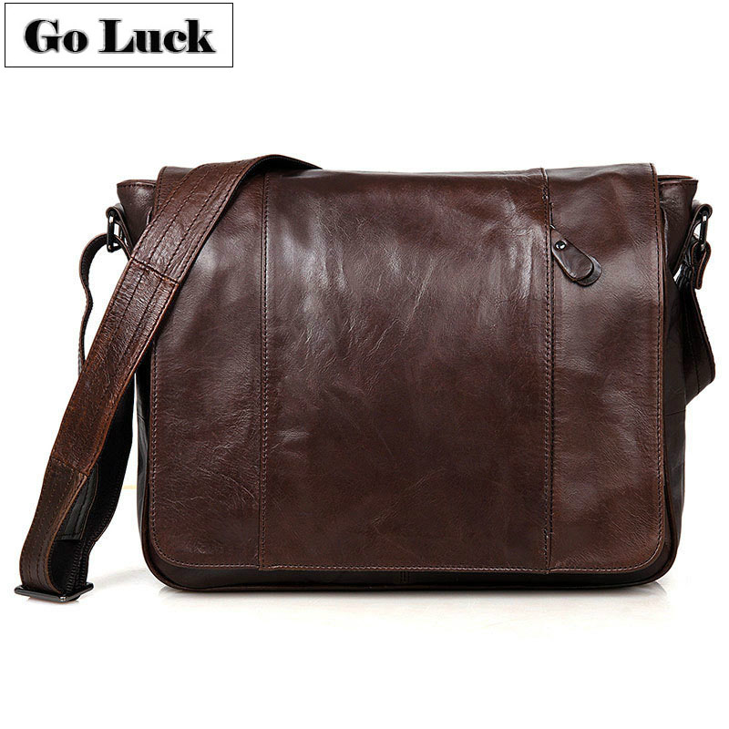 GO-LUCK Brand Top-grade Genuine Leather Men Messenger Bag Men's Crossbody Shoulder Bags Male Cowhide 13' Laptop Computer Pack