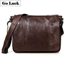GO-LUCK Brand Top-grade Genuine Leather Men Messenger