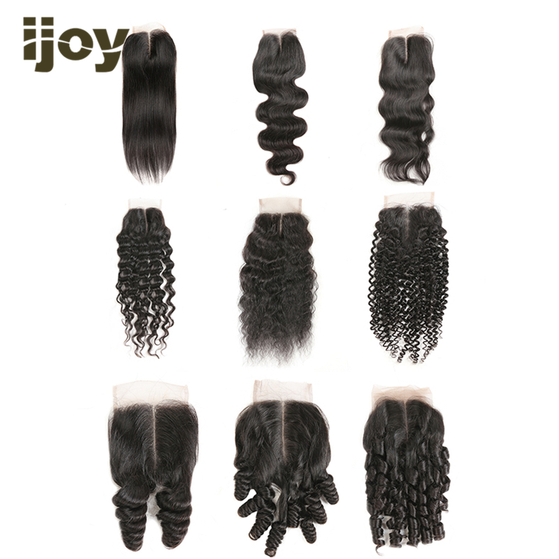 Human Hair Straight/Body Wave/Kinky Curly Closure 4x4 Lace Closure Natural Color 8