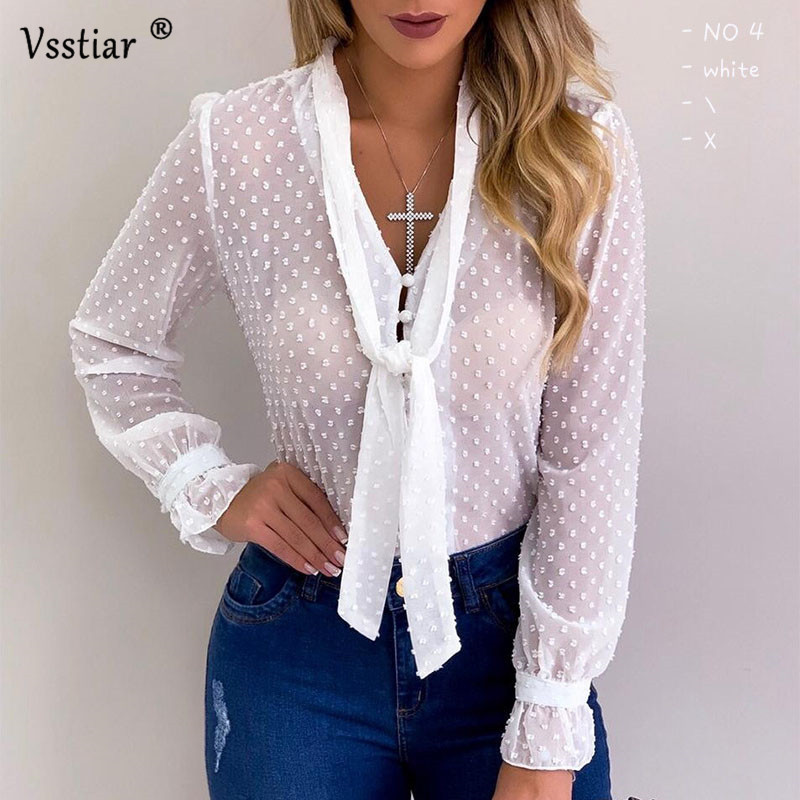 Vsstiar Long Sleeve Chiffon Blouse Women Plus Size V Neck Black White Pink <font><b>Blue</b></font> Tops Casual <font><b>Polka</b></font> <font><b>Dot</b></font> Ladies <font><b>Shirts</b></font> image