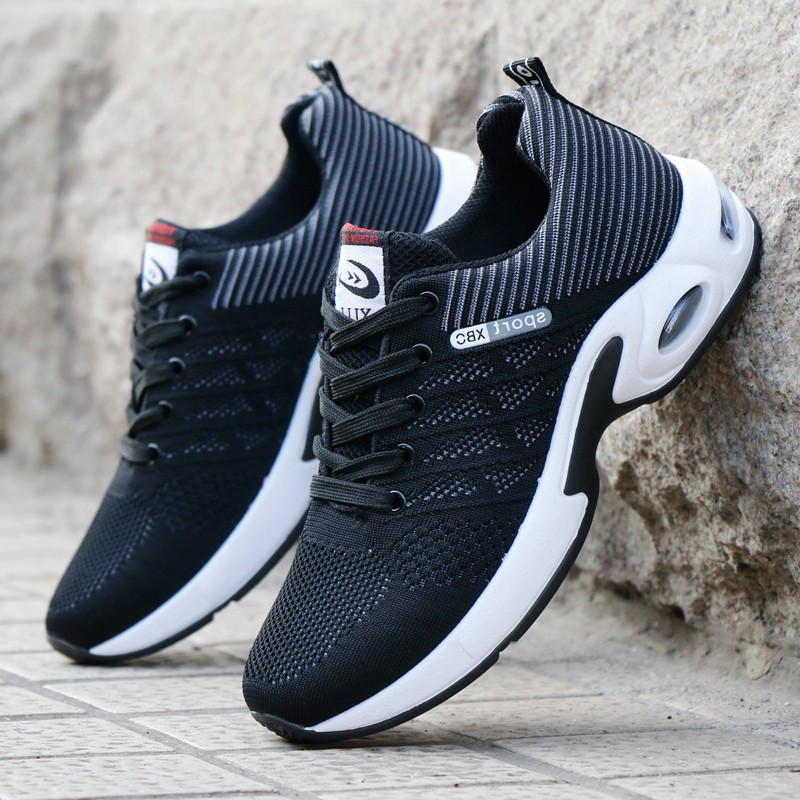 Sports Men's Shoes Flying Weaving Running Shoes Air Cushion Shoes 2020 New Wild Breathable Korean Shoes Men's Vulcanized Shoes