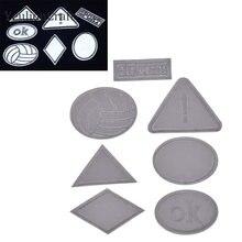 Chzimade 5 pièces Rectangle Triangle Patch de broderie réfléchissant patchs adhésifs brodés appliques Badges bricolage matériaux de couture