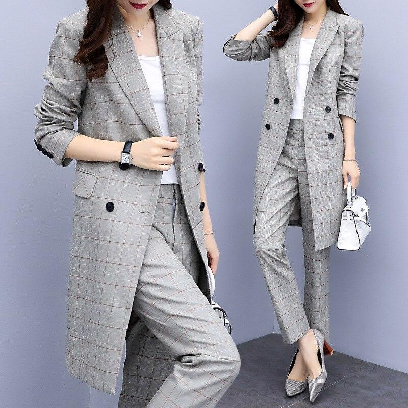 Entretien d'affaires femmes pantalons à carreaux costumes grande taille vêtements de travail bureau dame Double boutonnage mince formel Long Blazer et pantalon ensemble