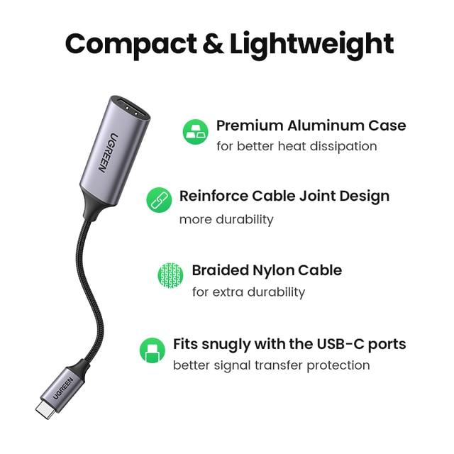 UGREEN USB C to HDMI Adapter 4K 60Hz Type C Thunderbolt 3 to HDMI For MacBook Pro Air iPad Pro Samsung Galaxy S10/S9 USB-C HDMI 5