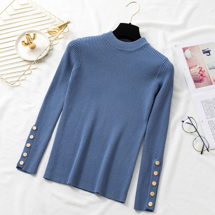 Autumn Women Long Sleeve Pure Slim Sweater Winter Knitted Turtleneck Casual Cashmere Pullover Metal Buttons Split Cuff Basic Top 17