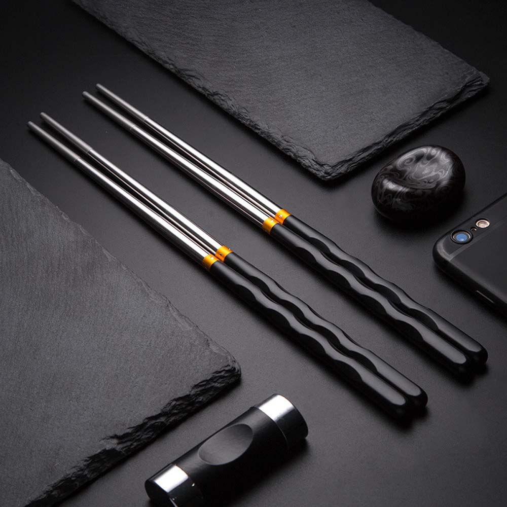 1 pair Colorful Stainless Steel Chopsticks Symbol of Good Luck Chinese Chopstick Laser Non-Slip Hollow Kitchen Tableware