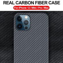 מקרה סיבי פחמן אמיתי עבור iPhone 12 מיני Pro מקסימום 11 מקרה עבור Iphone X Xs מקסימום כיסוי דק ו אור חזרה טלפון מקרה Funda קאפה