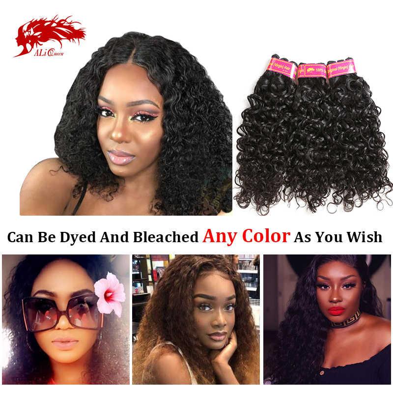 Ali Koningin Een-Donor Braziliaanse Onverwerkte Virgin Human Hair Extension Water Wave Bundel Natuurlijke Kleur 30 32 Inch Dubbele getrokken