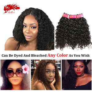 Ali Queen One-Donor Brazilian Unprocessed Virgin Human Hair Extension Water Wave Bundle Natural Color 30 32 Inch Double Drawn(China)