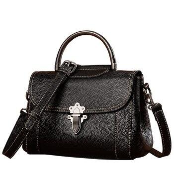 Vintage Real Cow Leather Women Shoulder Bag Genuine Leather Designer Handbags with handle Messenger crossbody bags tote Flap Bag