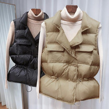 Gilet court en duvet de canard blanc pour femme, gilet coupe-vent léger, chauffe-corps, manteau sans manches, hiver