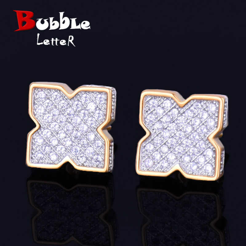 9MM Silver Flower shape Men's Women Stud Earring Gold Charm Full Cubic Zircon Screw Back Earrings Fashion Hip Hop Jewelry