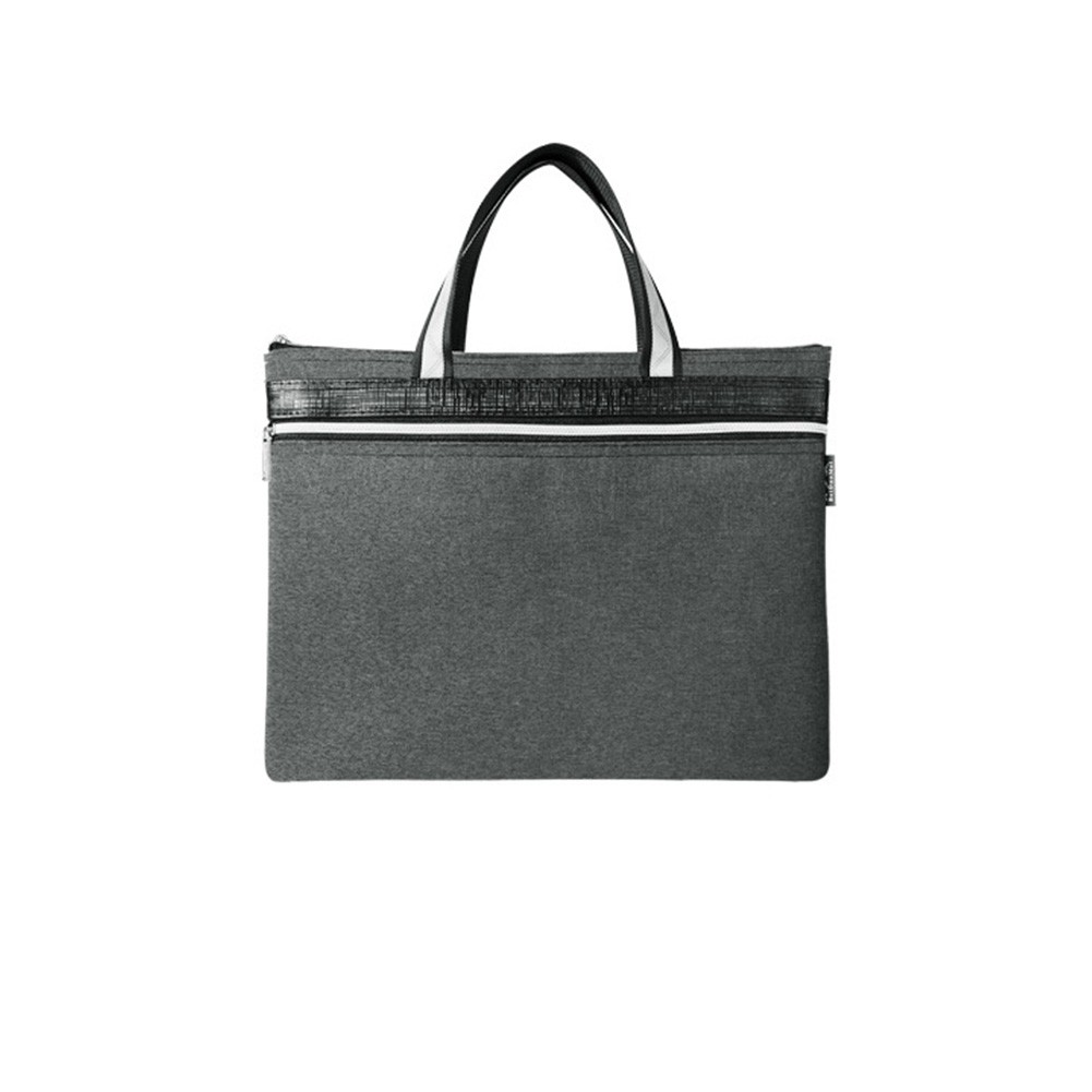 A4 Portable Hand Held Zipper Double Deck File Bag Business Briefcase Waterproof Work Anti Lost Office Conference Oxford Cloth