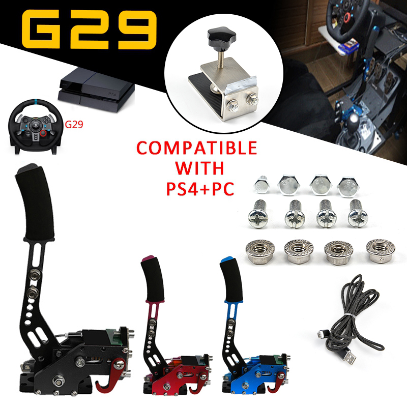 2019 New Racing Games Handbrake Clamp PS4 + PC USB Handbrake SIM for Racing Games G27 G29 G920 T300RS With Fixture Action Toy