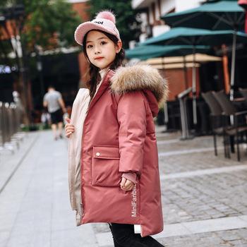 Dziecięce kurtki puchowe 2020 zimowe nowe koreańskie jednolity kolor grube białe kaczki średniej długości dziewczęce kurtki puchowe tanie i dobre opinie Pasuje prawda na wymiar weź swój normalny rozmiar CN (pochodzenie) Rib rękawem zipper Termiczne Białe kaczki dół