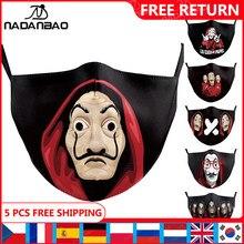 NADANBAO La Casa De Papel máscara De boca chico Cosplay adulto De cara reutilizable máscara impresión lavable máscaras De tejido Cosplay cara