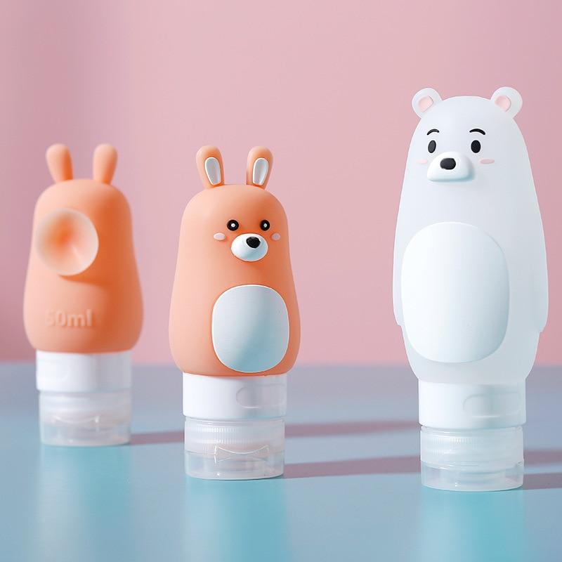 Animal Portable Cartoon Bear Penguin Silicone Travel Case Organizer Shampoo Shower Gel Lotion Storage Refillable Bottle