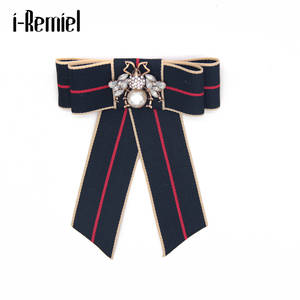 I-Remiel Brooches Badge Pins Outfit Ribbon Bowtie Fashion Women Gifts Cravat Bowknot