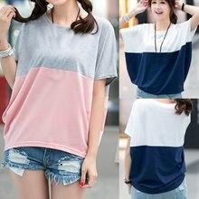 Camiseta de manga corta con cuello redondo para mujer, blusas de empalme, camisas femeninas flojas, 2021