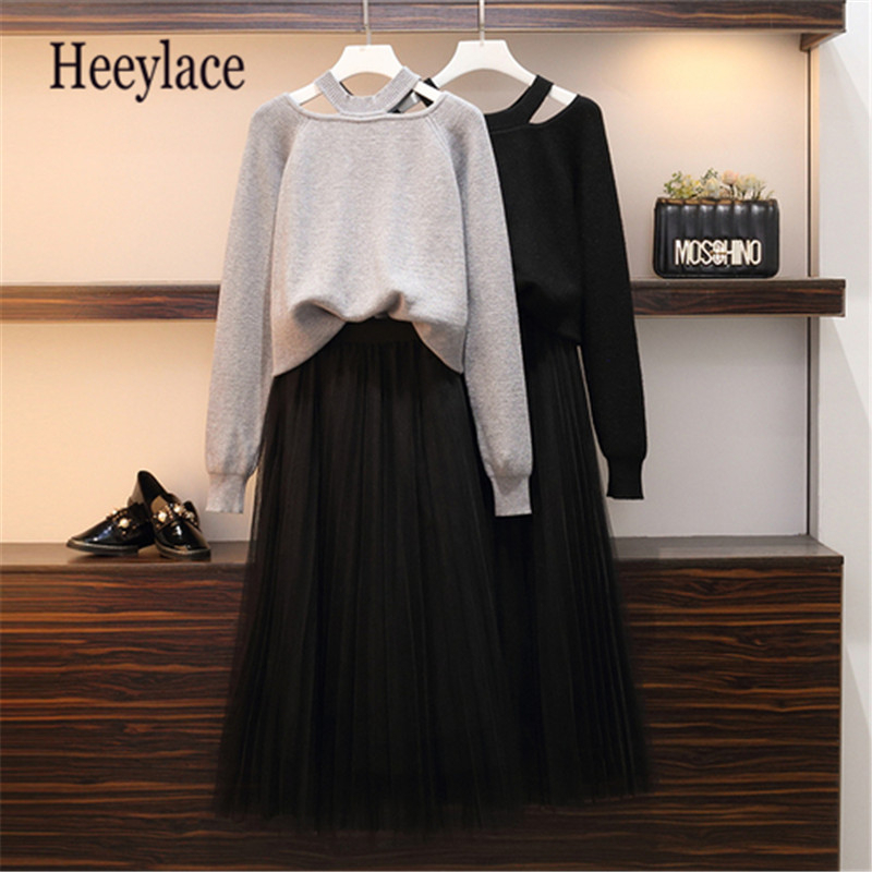 Plus Size Graceful 2 Piece Set For Women Loose Sweater Skirts Outfit Long Sleeve Female Knitted Sweater Tops Meth Skirt Sets 5XL
