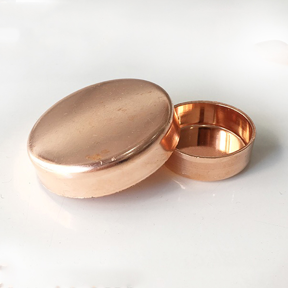 """3/8""""-6"""" 15-159mm ID End Cap 99.9% Copper End Feed Solder Cup Stopper Lumbing Fitting For Air Condition"""