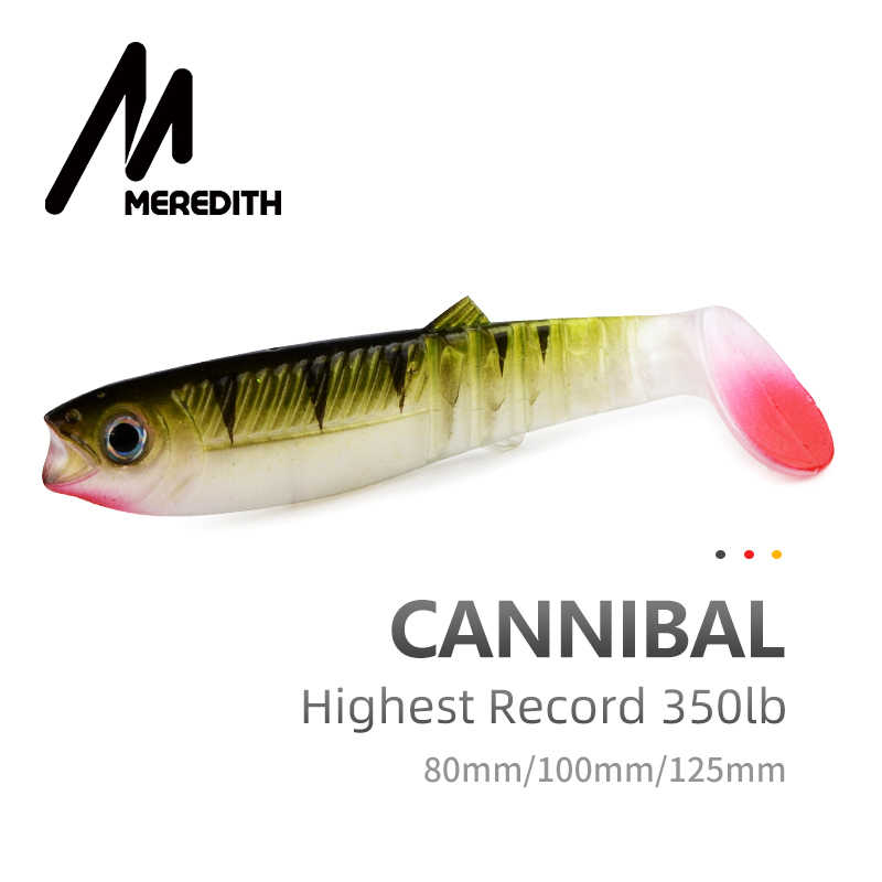 Meredith Ăn Thịt Người Mồi 80 Mm 100 Mm 125 Mm Nhân Tạo Mềm Mồi Câu Cá Wobblers Câu Cá Mồi Silicone Shad Con Sâu bass Mồi Câu