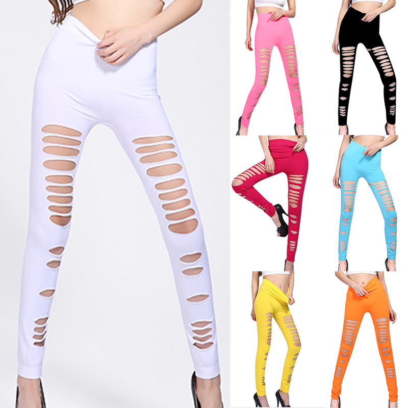 One Size Women Pants White One Size Korean Version Of Leggings, Hole Slimming Leggings Trousers Female Ankle-length Length Pants