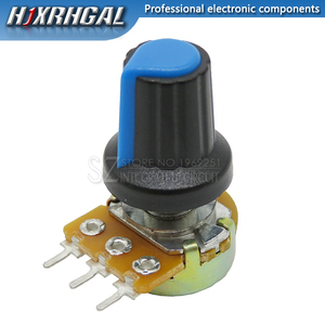 1pcs WH148 B10K B20K B50K B100K 3PIN 15mm 1K 2K 5K 10K 20K 50K 100K 250K Adjustable Potentiometer hjxrhgal + 1pcs Blue knob