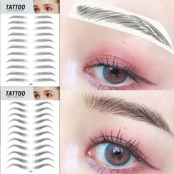 11 Pairs New Magic 4D Hair-like Eyebrow Tattoo Sticker False Eyebrows Long Lasting Waterproof Eye Brow Stickers Makeup Tools