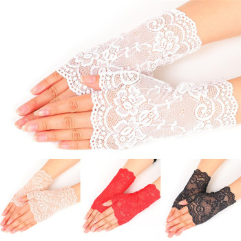 Summer Thin UV-Proof Driving Gloves Lady's Fingerless Black Floral Lace Gothic Sexy Short Hollow White Red Party - discount item  30% OFF Gloves & Mittens