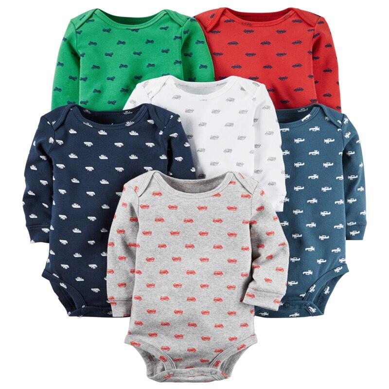Детское боди с длинными рукавами для мальчиков, трико для девочек, одежда для новорожденных, коллекция года, осенний комплект унисекс для новорожденных, зимний хлопковый Модный комплект с круглым вырезом - Цвет: 6pcs set