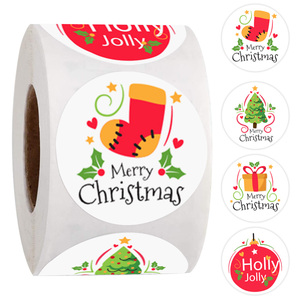 4 Style Merry Christmas Stickers 1 Inch Christmas 'Socks,Gift,Holly Jolly' Stickers For Handmade Sticker Card Box Package Labels