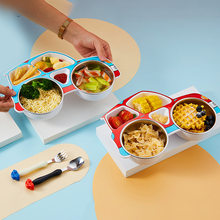 Children Car 304 Stainless Steel Plate Baby Supplementary Food Bowl Kindergarten Separate Bowl Fork Spoon Three-piece Bowl
