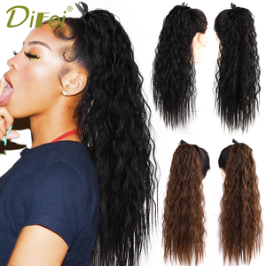 Long Corn Wave Ponytail for Women Heat Resistant Synthetic Drawstring Ribbon Ponytail Hair Extension 12 Colors Available(China)
