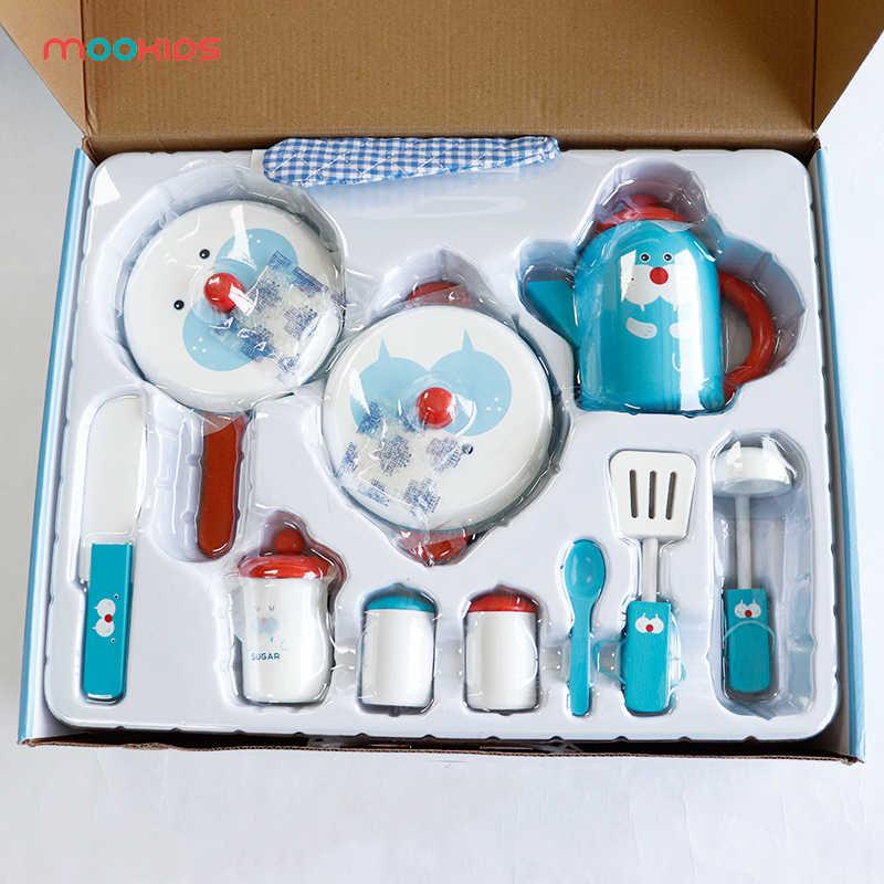 Mookids wooden tea set toy Kids Pretend Play Wooden Kitchen Cooking Food  Saucepan Tea Set Toys Walrus Kitchen Set for Children