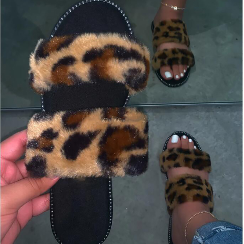 Spring And Autumn Comfortable Women's Flat Slippers Fashion Sexy Leopard Print Wild Outdoor Plus Size Female Slippers 37-41 Size