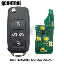 Qcontrol 4 btcar chave remota 433mhz vw volkswagen caravelle sharan multivan mpv t5 controle id48 chip