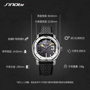Image 5 - SINOBI High Quality Stainless Steel Mens Watches Hour Military Soft Silicone Strap Calendar Sport Waterproof Wrist Watch reloj