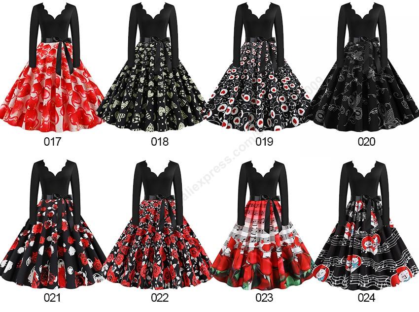 Women Long Sleeve Winter Vintage Dresses Sexy Black Music Note Print V-neck Rockabilly Pin up Party Dress Vestidos Plus size 507