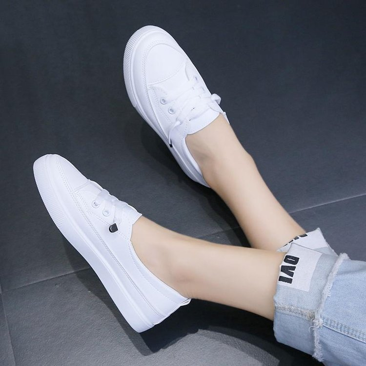 2020 low platform sneakers women shoes female pu leather Walking sneakers Loafers White flat slip on Vacation shoes AB570 3