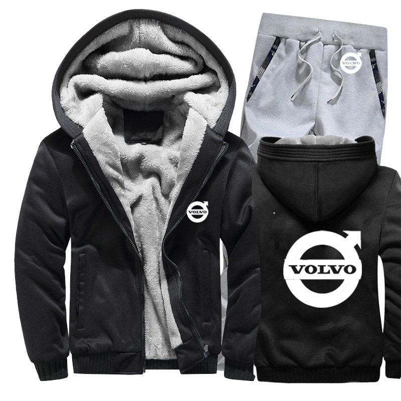 Hoodies Men Volvo Car Logo Mens Hoodies Suit Winter Thicken Warm Fleece Cotton Zipper Tracksuit Mens Jacket+Pants 2Pcs Sets