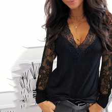 T-shirt Casual a maniche lunghe in pizzo con scollo a v per donna primavera inverno abiti Y2K Sexy T-shirt nera tinta unita Office Lady Top