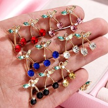 Flatfoosie 10 Pcs/set Indah Cherry Perhiasan Kristal Aksesoris Fashion Multicolor Rhinestones Perhiasan DIY Anting-Anting Kalung(China)