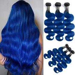 Пупряди волос омбре, волнистые бразильские волосы, пучки для плетения, T1B/синий омбре, бразильские человеческие волосы, можно купить 1/3/4 пряд...