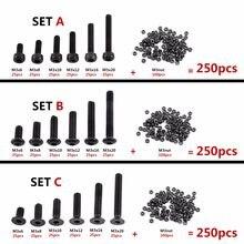 Unids/set M3 Tornillos con cabeza hexagonal, juego de tuercas hexagonales, juego surtido, aleación de acero negro, tapa de botón, cabeza plana para elegir, 250