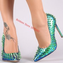 Newest Rivet Hologram Stiletto Heels Pump Pointed Toe 12 10 8cm Spikes Shallow Dress Shoes Green Snakeskin Pumps Drop Ship(China)