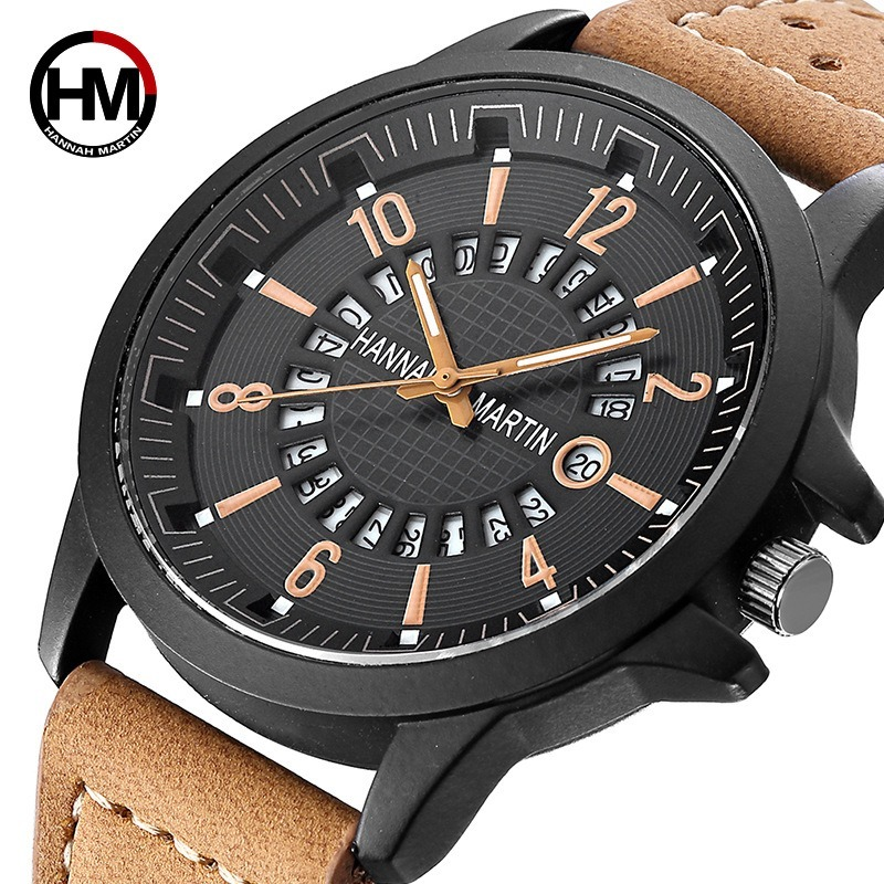 Hannah Martin Watches Men Top Luxury Brand Fashion Creative Quartz Men Wrist Watch Leather Casual Waterproof Calendar Clock Male