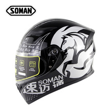 Full Face Kask Black White Motocross Helmet Casco Ece Motorcycle Shark Viseira Capacete Moto Visor