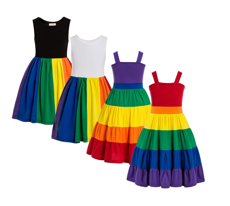 Rainbow Birthday Party Dress Jojo Siwa Tutu Dress Birthday Rainbow dress Girls rainbow twirl dress Party dress twirly dress 1
